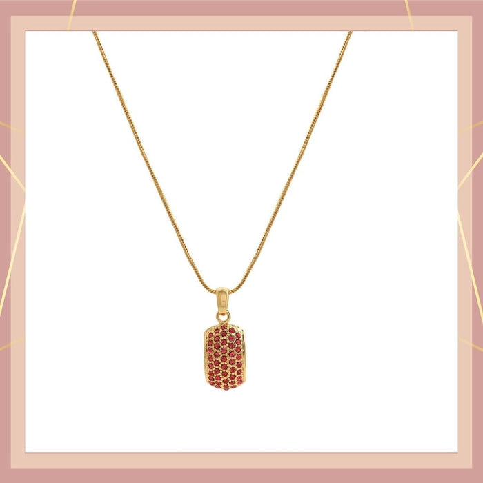 Trendy Gold Plated Candy Pendant with Fancy Red Austrian Diamond Crystals