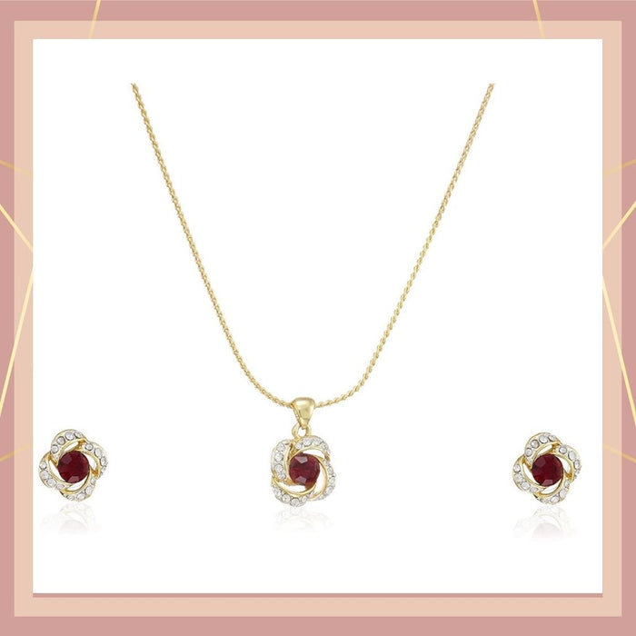Estele 24 Kt Gold Plated Necklace with Red Austrian Crystal Necklace Set for Women