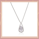 Estele Rhodium Plated Geometric drop shaped American Diamond Necklace for Women