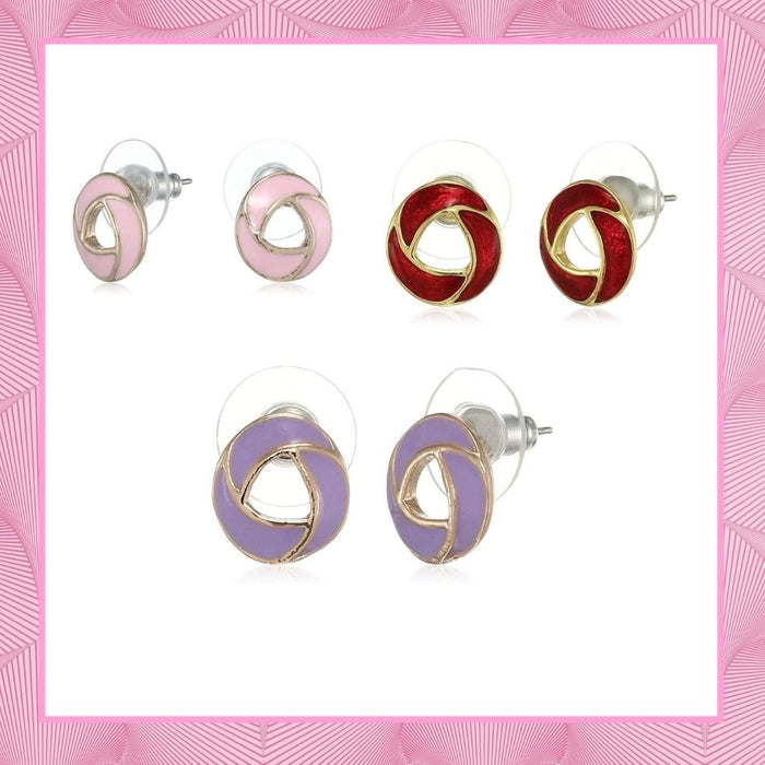 Estele Valentines Day Special Earrings For Gift Stud Earrings For Girls & Women(VOILET,PINK&RED)