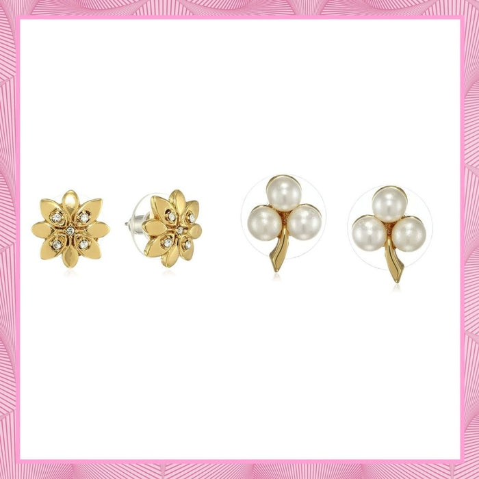 Estele Valentines Day Gift For Her - Gold Plated flower Shaped Earrings for Women and Girls
