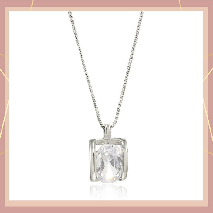 Estele Rhodium plated drop pendant with big fancy Austrian Crystal for women
