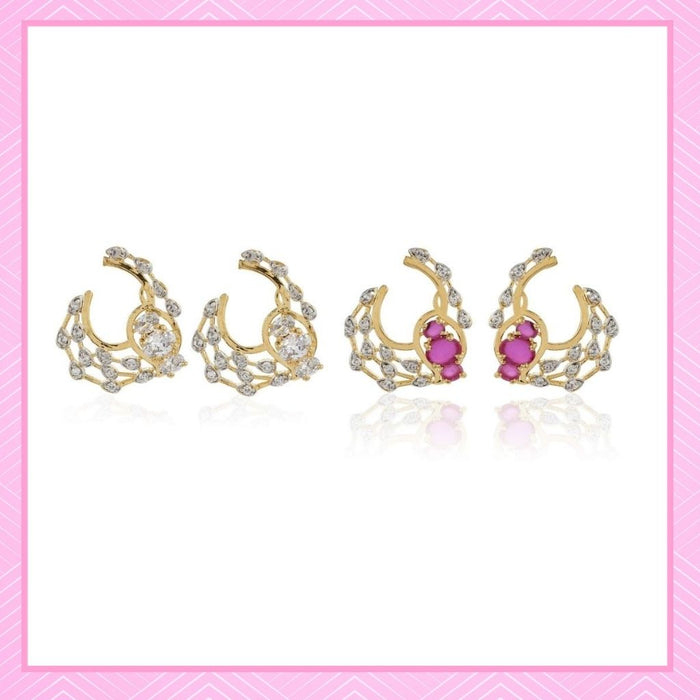 Estele Valentines Day Jewellery Earrings - Gold Plated Alloy Metal Pink & White American Diamond Stone Stone Stud Earrings For Girls & Women