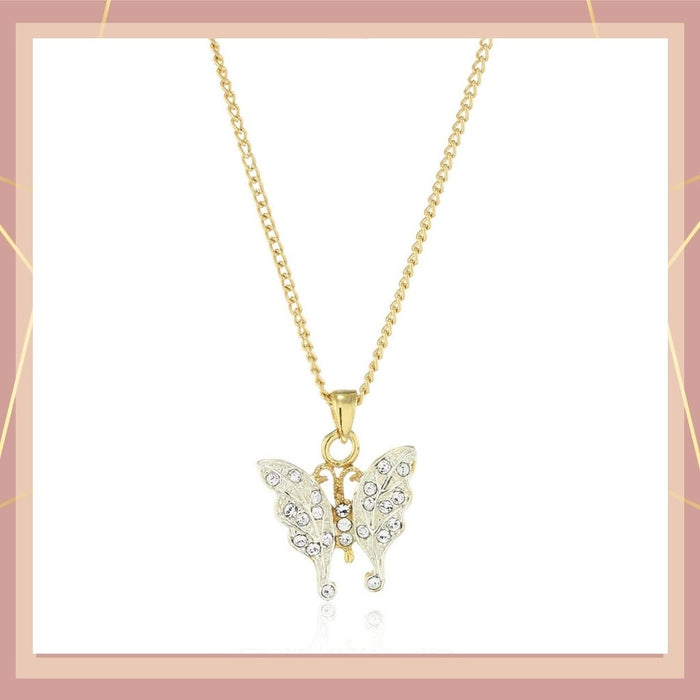 Estele  GOLD plated Pretty butterfly pendant with white stones for women