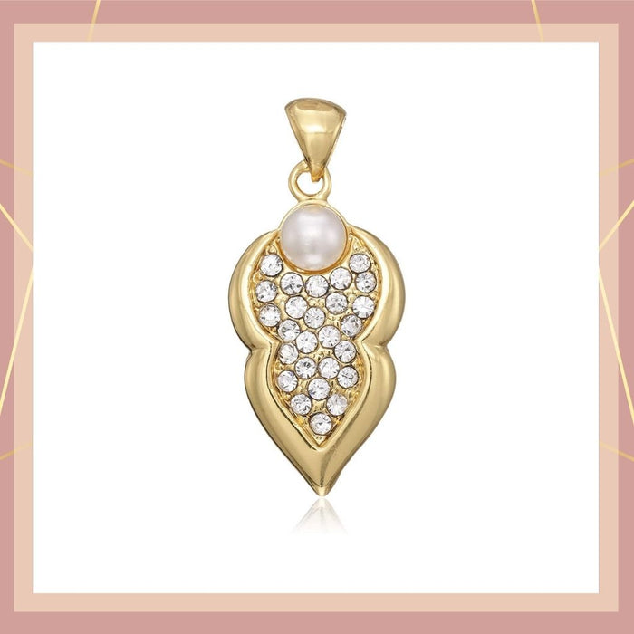 Estele  Gold plated Leafy shaped with American Diamond  only pendant for women
