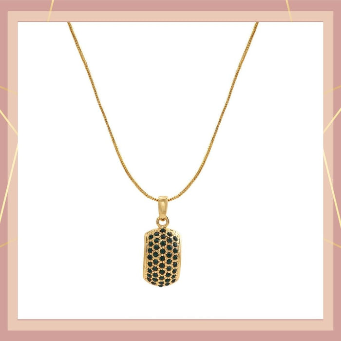 Trendy Gold Plated Candy Pendant with Fancy Emerald Austrian Diamond Crystals