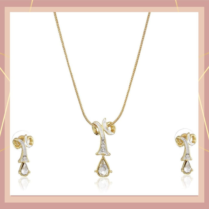 Estele 24 Kt Gold Plated Twisted Drop with Fancy Austrian Crystal Necklace Set for Women