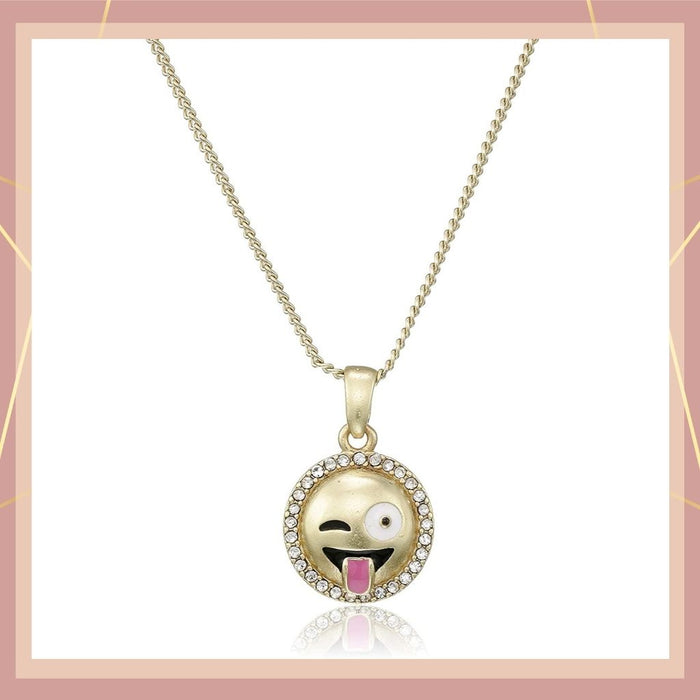 Estele  gold plated Emoji Pendant with Tongue out expression for women