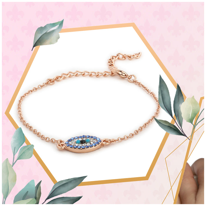 Evil Eye Rose Gold Bracelet Using Swarovski Stones