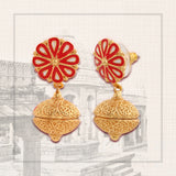 ESTELE - Trendy Gold Plated Pearl Dangle Earrings