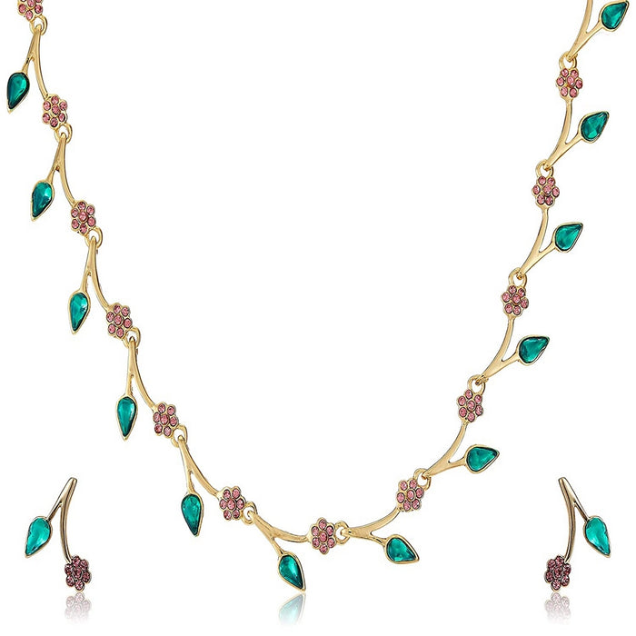 Estele Gold Plated Exquisite Crystal Necklace Set for Women