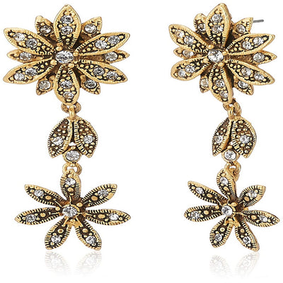 Estele Oxidised Gold Plated Flower and Leaf with Austrian Crystal Necklace Set for Women