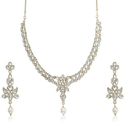 Estele 24 Kt Gold Plated Delicate Kundan Necklace set with Pearl Drop for Women