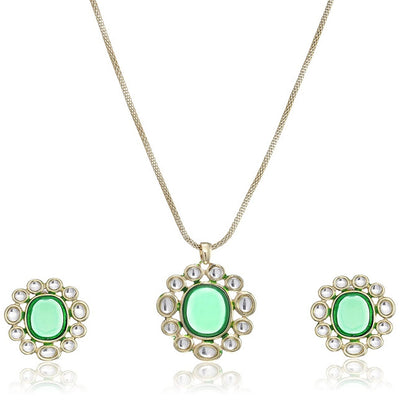 Estele Green Kundan Latest Necklace Jewellery Set for Women