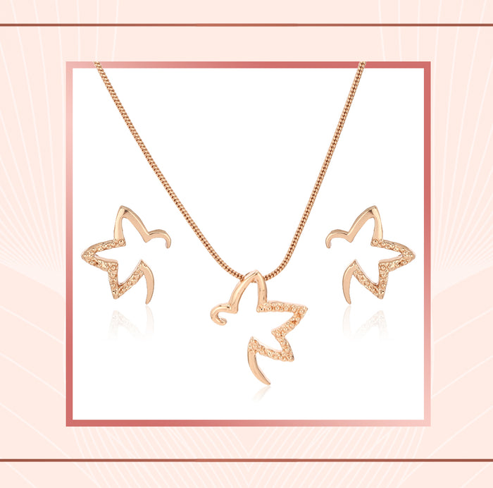 rose gold star pendant set, fashion jewellery, buy online jewellery
