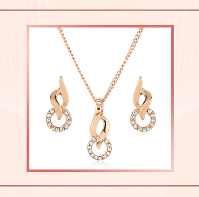 Rose Gold Flame Ring Pendant Chain Necklace