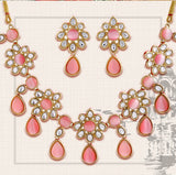 Polki Collection Gold Plated Kundan Necklace Set
