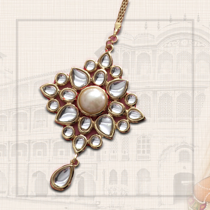 Gold Plated Traditional Kundan Maang Tikka for Women
