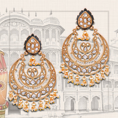Traditional Polki Pearl Chandbali Earrings For Women Girls