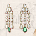 Traditional Long Kundan Chandelier Earrings with green stone