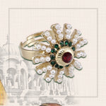 Traditional Kundan Studded Classic Style Gold Plated Crystal Cocktail Rings for Women & Girls