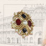 Multi colore stone ring with gold plated design for women