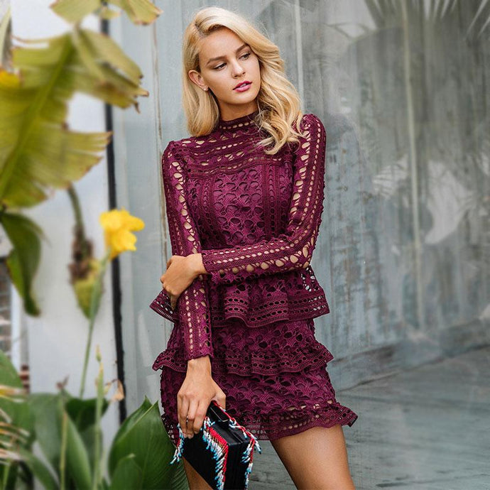 Burgundy Ruffle Lace Dress