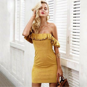 Suede Off The Shoulder Ruffle Dress