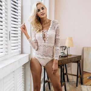 Deep V Neck Lace Up Bodysuit