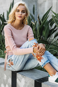 Casual Tie Up Crop Knit Sweater