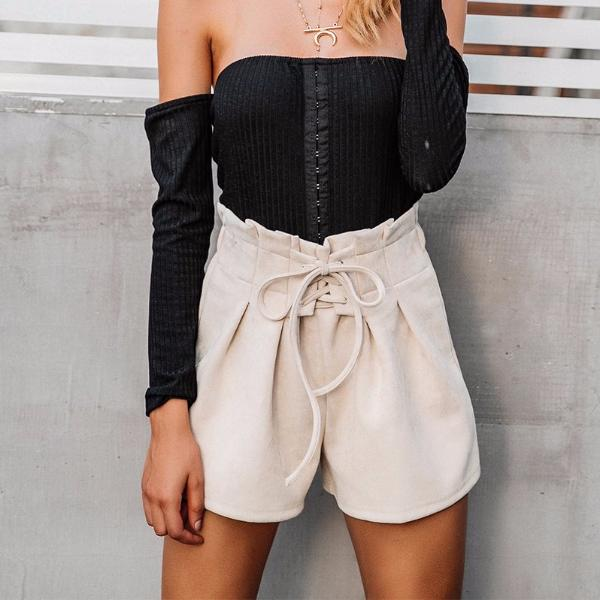 Suede Cinched High Waist Shorts