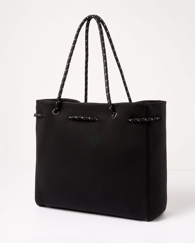 MIZ CASA & CO ALLEGRA NEOPRENE TOTE BAG BLACK