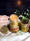 100% Pure Beeswax Jar Candle anointed with Essential Oils (Big) - Burn time of 26 - 28 Hours (1 Candle)