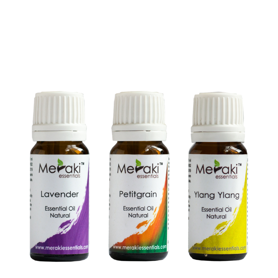 Stress Relieving Combo - Lavender Essential Oil (10 ml), Petitgrain Essential Oil (10 ml) & Ylang Ylang Essential Oil (10 ml)