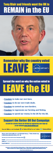 150 'Tony Blair and friends want the UK to remain in the EU' flyers