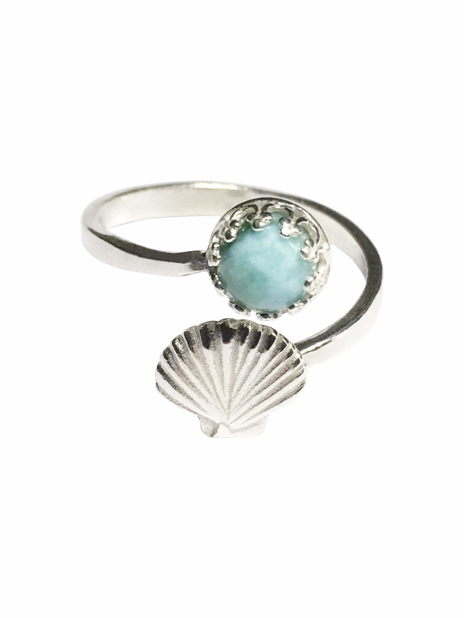 Handmade Sterling Silver Larimar Gemstone Shell Ring