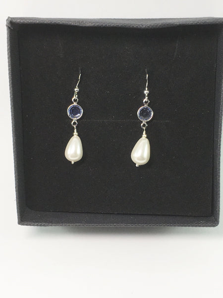 Sterling Silver Pearl Bridal Earrings