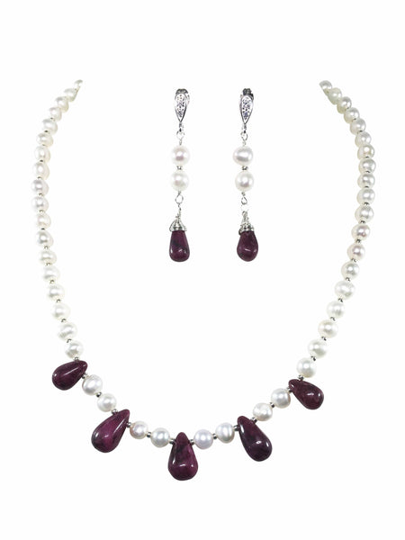 Ruby And Freshwater Pearl Bridal Necklace