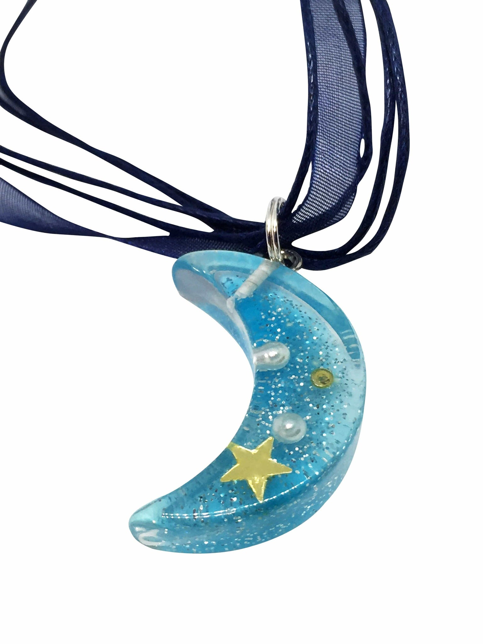 Blue Resin Moon Pendant