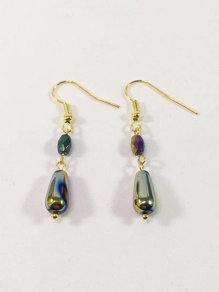 Rainbow Hematite Gemstone Drop Earrings