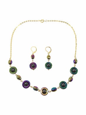 Rainbow Hematite Gemstone Necklace And Earring Set