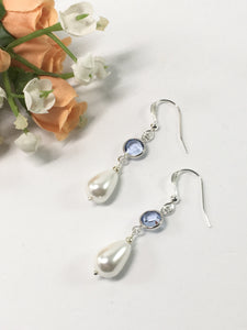 Sterling Silver Shell Pearl Earrings White