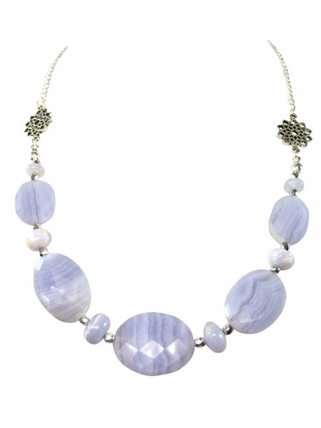 Blue Lace Agate Gemstone Necklace