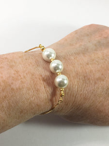 White Shell Pearl Slider Bracelet