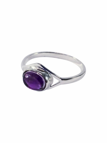 Oval Gemstone And Sterling Silver Ring