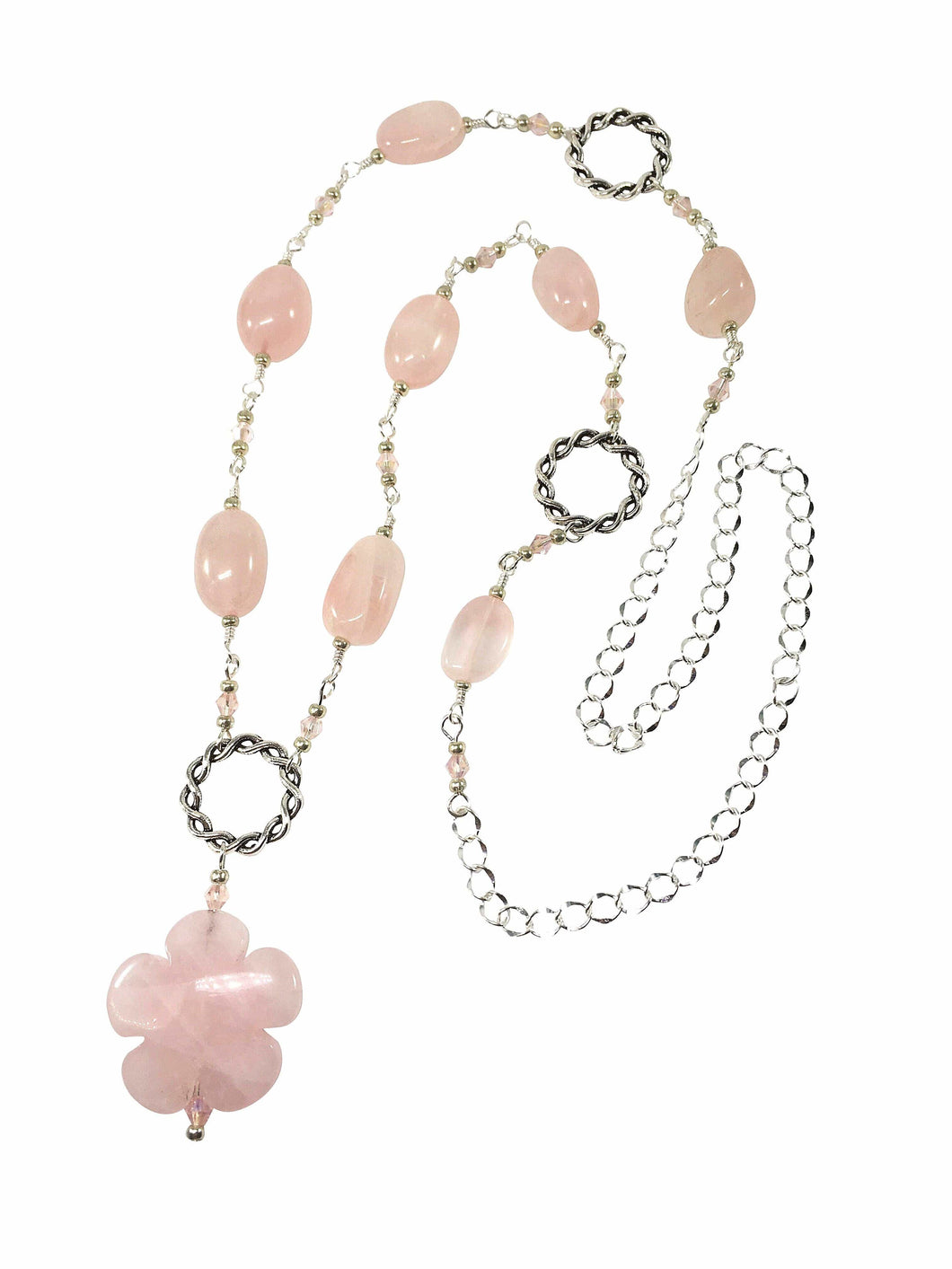 Rose Quartz Flower Necklace