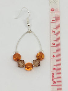 Amber And Swarovski Loop Earrings