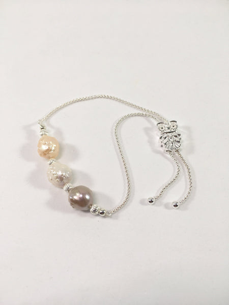 Sterling Silver Hedgehog Pearl Slider Bracelet