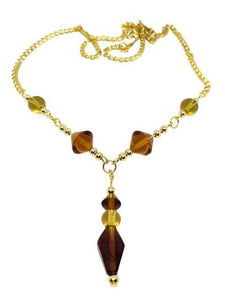 Glass Amber Beaded Necklace
