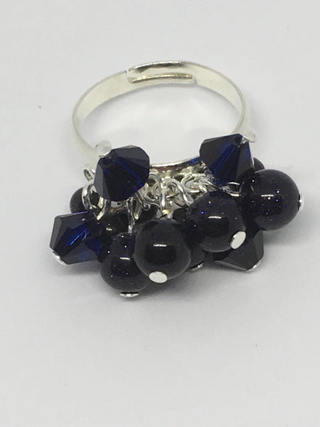 Gemstone And Swarovski Bobble Ring